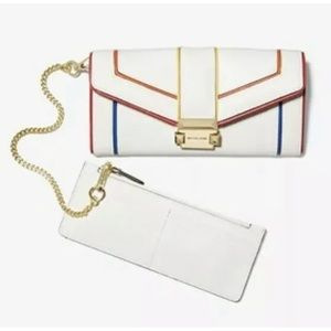 Michael Kors Whitney chain wallet rainbow white